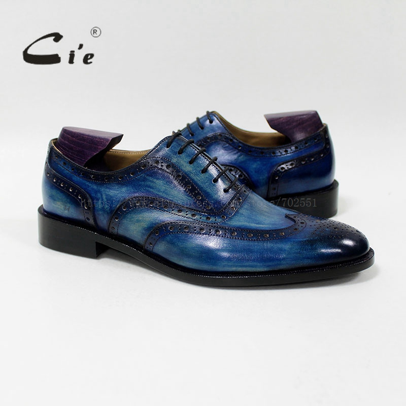cie square toe brogues medallion 100%genuine calf leather outsole men dress patina blue shoe handmade leather men shoe OX-10-06 good quality goodyear handmade genuine leather upper outsole insole black color cement craft brogues square toe shoe no ox643