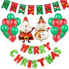 Christmas Decoration Balloons Christmas Flag Set Merry Christmas Letter santa clause Balloons Wholesale Party Decorations цена