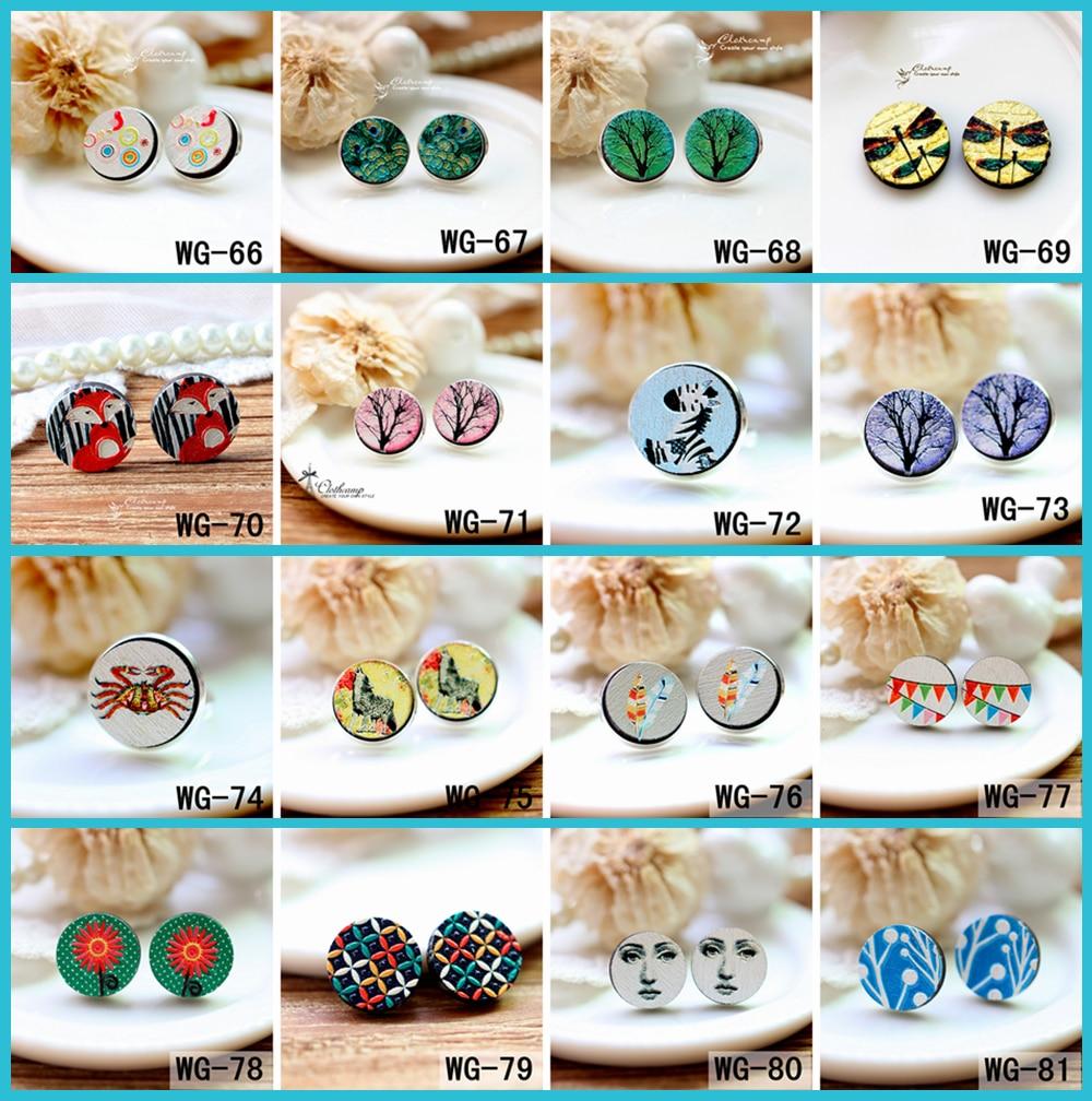 Ohrring Aufstrebend 10 Stücke Wg-66-81 3d Geprägte 16mm Runde Farbige Zeichnung Muster Brosche Laser Cut Holz Perlen Diy Für Ringe keine Löcher