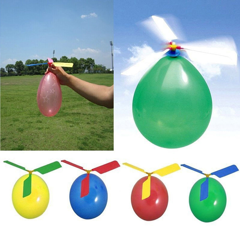 5 set/pack Creative Balloon Helicopter Portable Outdoor Playing Flying Toy Child Party Supplies Gift for Children Free shipping