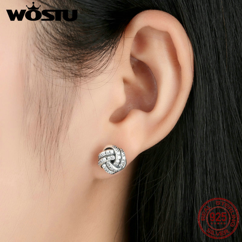 bee7f6403 Wholesale 100% 925 Sterling Silver Sparkling Love Knots Stud Earrings For  Women Compatible With WST Jewelry Original ZBBS476-in Stud Earrings from  Jewelry ...