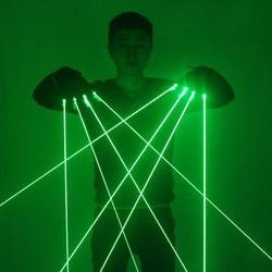قفازات الليزر الأخضر مع 4 قطعة 532 نانومتر الليزر ، LED قفازات المرحلة قفازات مضيئة ل DJ نادي/عرض الحفلات