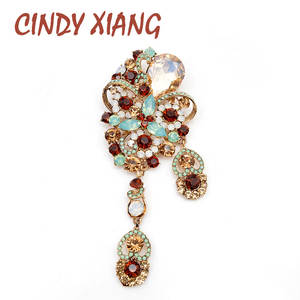 Large Brooch Cindy Xiang Pendant-Pins Elegant-Accessories Crystal Vintage Women for Good-Gift