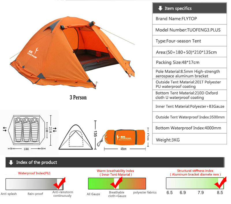 FLYTOP 4 Season Tourist Tents Outdoor Camping Double Layer Aluminum Pole Tent Winter Windproof Waterproof 3-4 Person Family Tent (1)