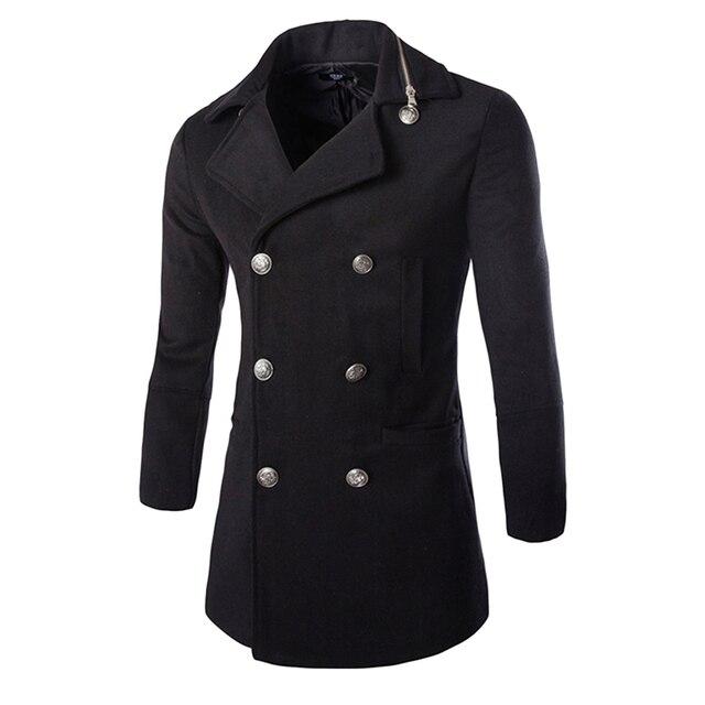Caliente venta de primavera hombres trinchera abrigo moda Slim Fit doble de pecho abrigo largo abrigo hombres fosa 13F01 M-XXL