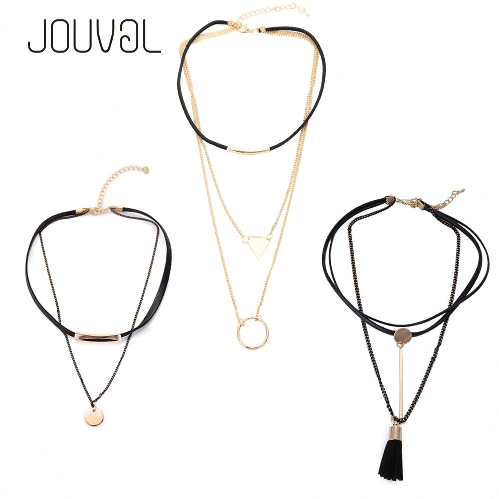 2018 Choker Set 3pc Women Black Leather Chokers Multi Chain Necklace Short Neck Choker Necklace Chocker Quality Super Value Sale
