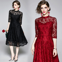 Banulin Women Casual Long Dress New 2019 Autumn Fashion Hollow Out Lace Big Swing Luxury Elegant Ladies Party Dresses