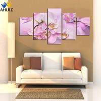 Envío libre Púrpura rojo Flor Pintura Abstracta Moderna 5 Panel de la Lona Arte de La Pared de Imágenes Para El dormitorio decoración del Hogar Sin Marco A23