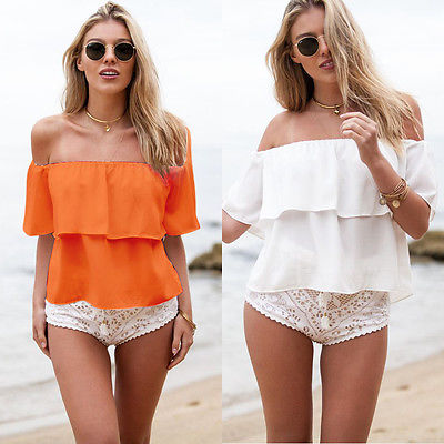 Sexy Women Girls Summer White Off Shoulder Chiffon Blouse Shirt Crop Tops 2016 beach new  fashion