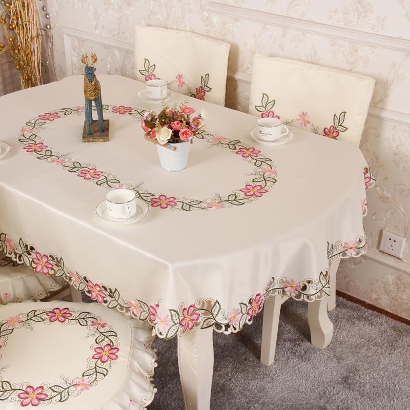 Long oval table cloth folding circular table chair cover chair cushion set home