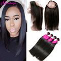 Straight Peruvian Virgin Hair With Frontal Closure 360Lace Frontal Closure With Bundles Straight Human Hair Bundles With Closure