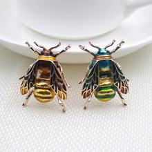 Fashion Cute Bee Black Yellow Enamel Insect Brooch Women Kids Animal Brooches Hats Scarf Clips Jewelry Hijab Pins Party Gifts