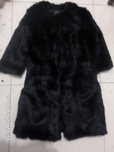 Length 90CM genuine rabbit fur coat woman