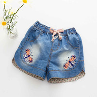 Kz-9960 Baby Lace Tight Pants 2017 Summer Wear New Pattern Girl Children's Garment Children Embroidery Cowboy Shorts