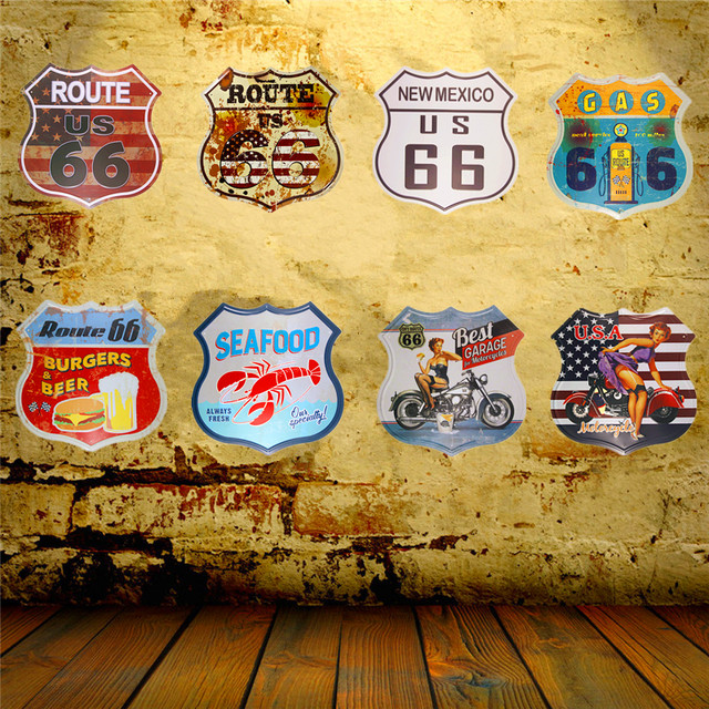 Online Shop Shabby chic Vintage Metal Tin Sign US Route 66 Beer ...