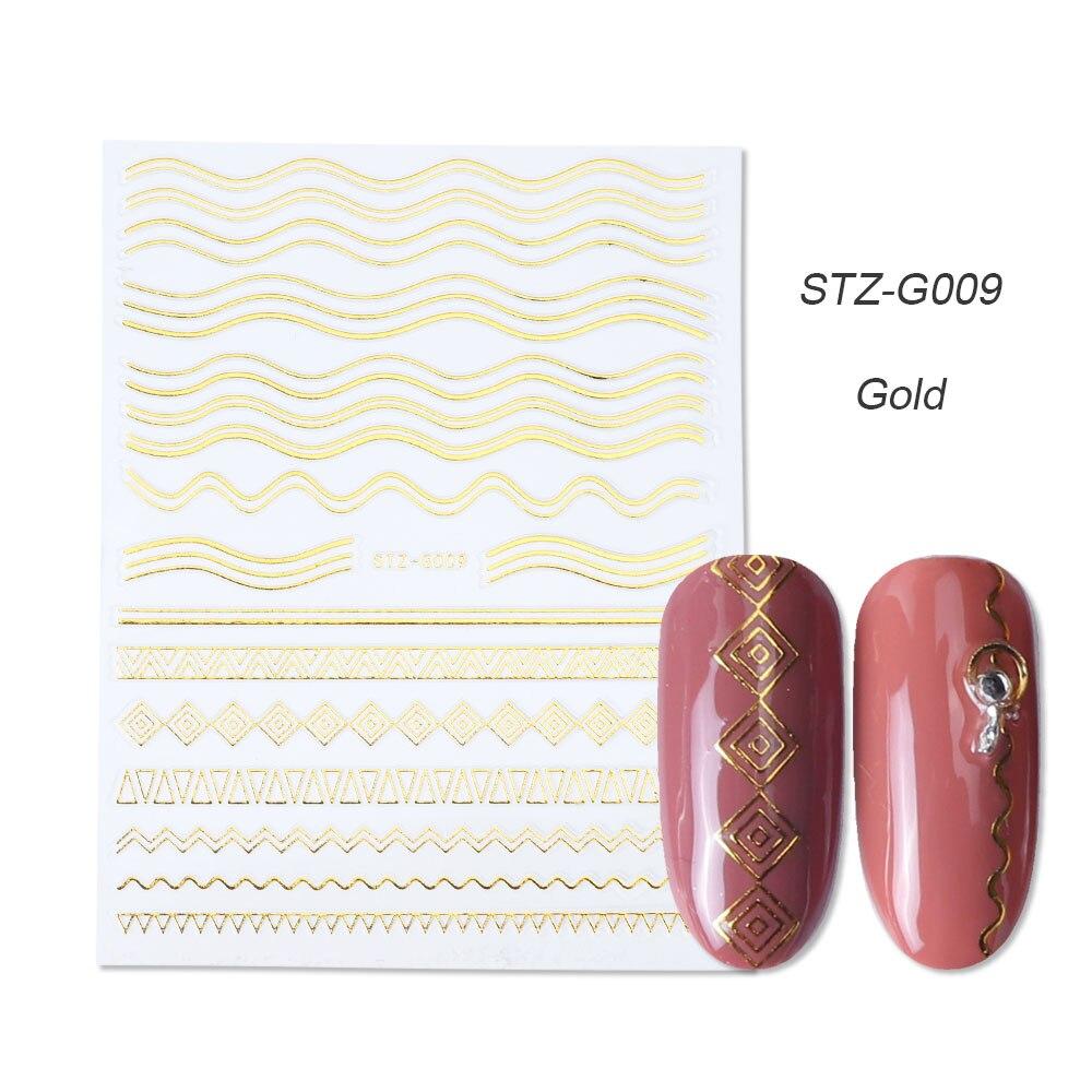 1 шт золотые Серебристые 3D наклейки для ногтей прямые изогнутые вкладыши полосы ленты обертывания геометрический дизайн ногтей украшения BESTZG001-013 - Цвет: STZ-G009 Gold