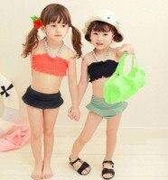 EMS DHL Free Shipping Kids Baby Girls Ruffle Halter Swimsuit Bathsuit Beachwear With Swimhat 5 Pcs