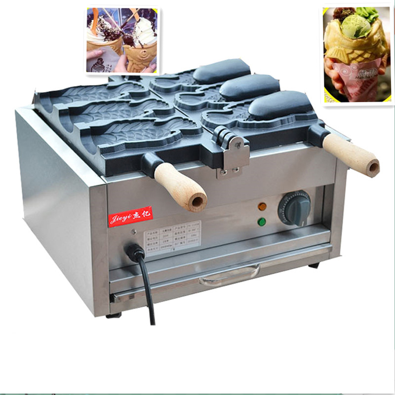 110V 220V Non-stick Commercial Electric Ice Cream Deep Mouth Taiyaki Fish Waffle Maker 3pcs Waffle Machine Baker For Ice Cream taiyaki fish maffle maker waffle ice cream machine