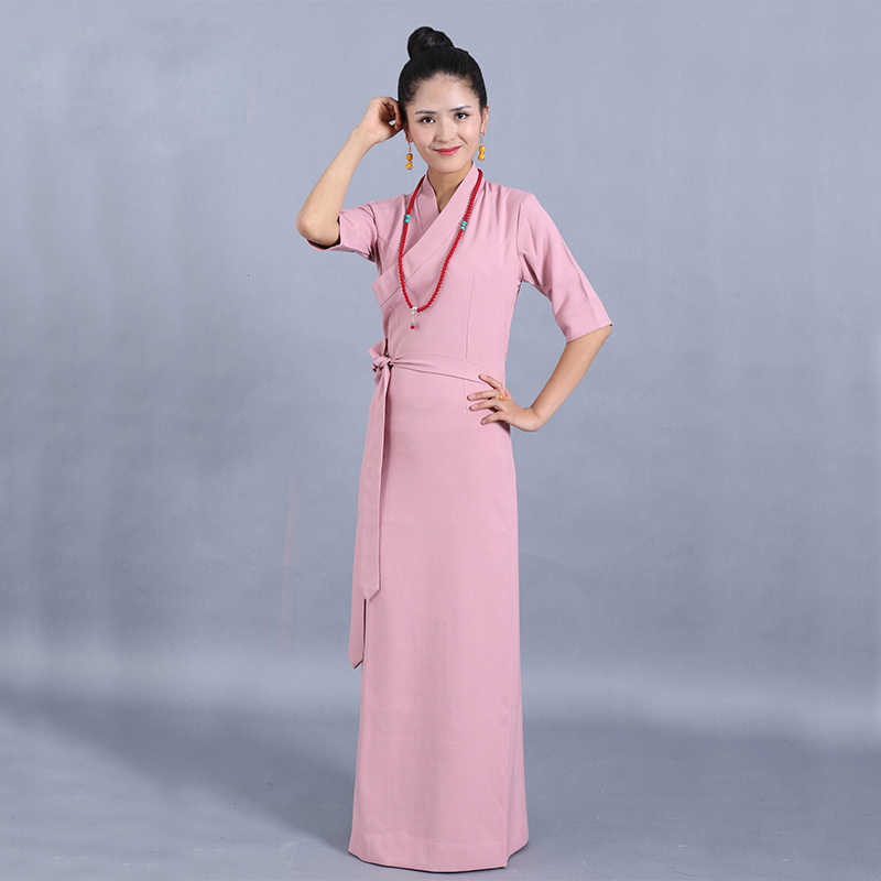 3c22065764a85 ... Tibet Style Women's Clothing Pure Color Half Sleeve comfortable Tibetan  Gown Robe Pink Gray Linen Chiffon ...
