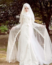 Jark Tozr Newest Appliques Beading White Muslim Wedding Dress With Hijab 2017 Long Sleeve Bridal Gowns Robe De Mariage Musulman