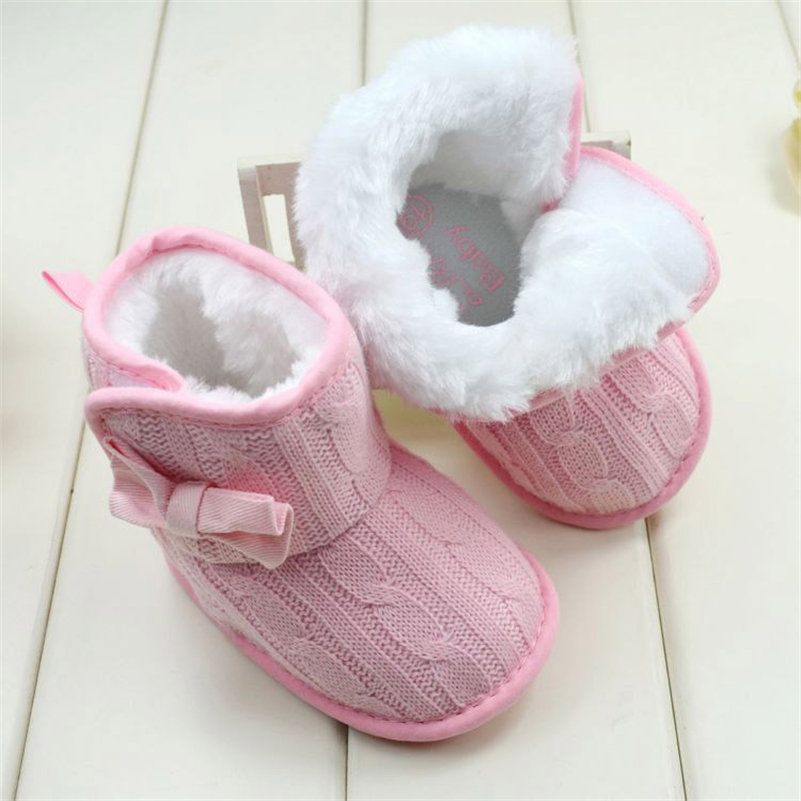 Baby Girl Knitted Boots Bowknot Faux Fleece Soft Sole Shoes Kids