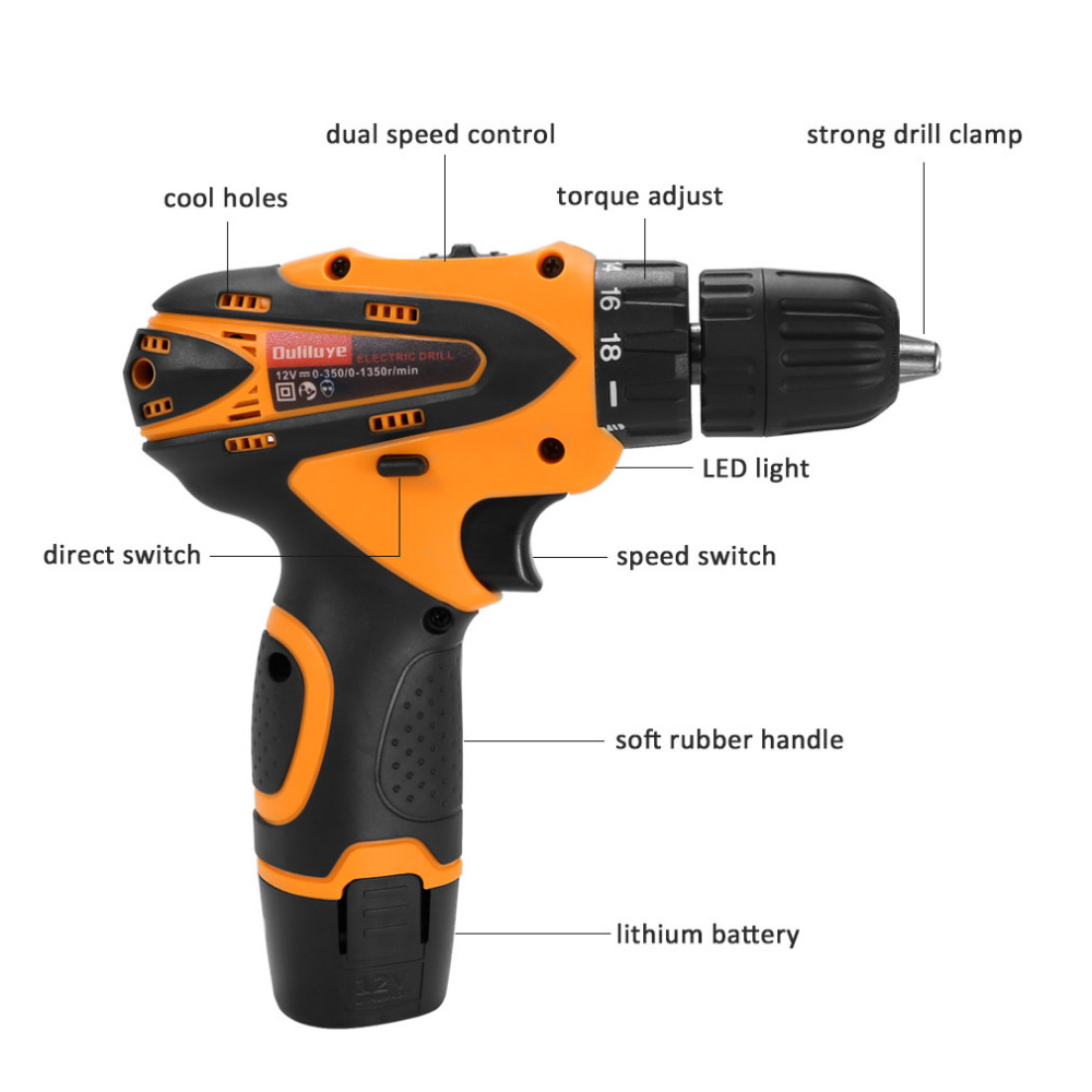 12V Adjustable Two Speed Wireless Cordless Impact Drill Electronic Wood Screwdriver Power Driver Rechargeable Lithium Battery in Electric Screwdrivers from Tools