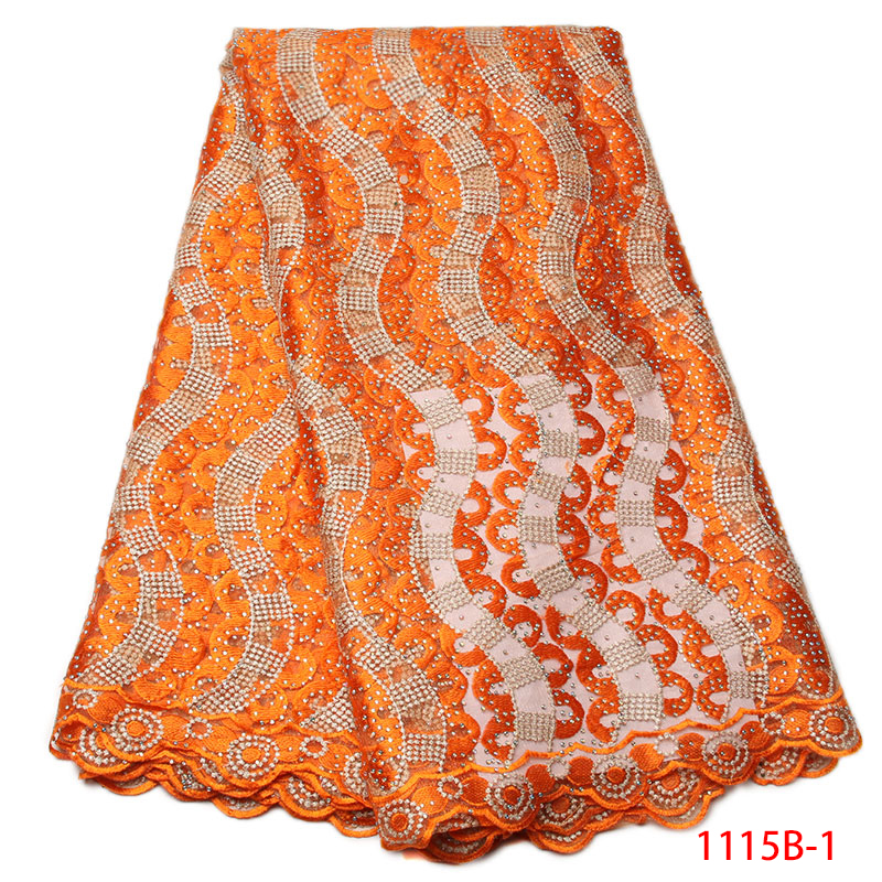 African Lace Fabric Nigeria Embroidered Guipure Cord Lace With Stones Orange Guipure Cord Lace For Dress NA1115B-1African Lace Fabric Nigeria Embroidered Guipure Cord Lace With Stones Orange Guipure Cord Lace For Dress NA1115B-1