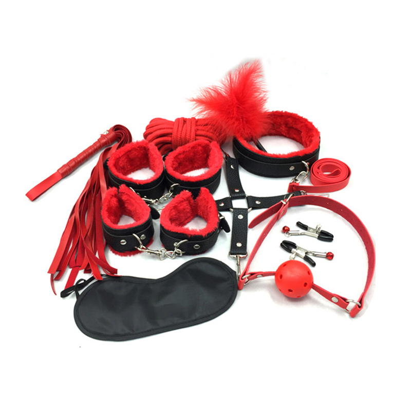 2 Color Women Men Porn Sex Handcuffs Nipples Clamps Whip Mouth Gag Sex Mask Anal Plug Bdsm Bondage Set Sexy Adult Toys in Bondage Gear from Beauty Health