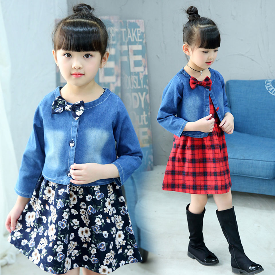 Cute Kids Baby Girl Long Sleeve 3 Colors Tops Denim Jackets Blouse 2Pcs Sets Girls Clothes O-Neck Fashion Children Girl Clothing 2pcs children outfit clothes kids baby girl off shoulder cotton ruffled sleeve tops striped t shirt blue denim jeans sunsuit set