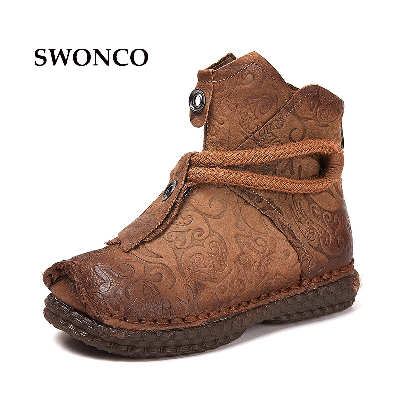 SWONCO Womens National Wind Ankle Boots 2018 Spring Autumn Genuine Leather Ladies Boot Ankle Boots For Women Female Shoes BootSWONCO Womens National Wind Ankle Boots 2018 Spring Autumn Genuine Leather Ladies Boot Ankle Boots For Women Female Shoes Boot