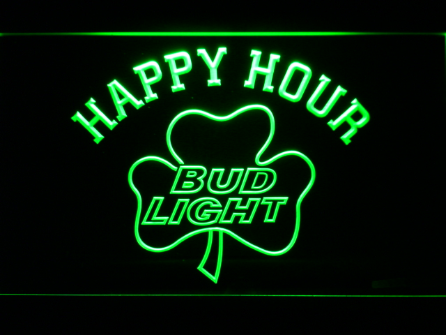 665 Bud <font><b>Light</b></font> Shamrock Happy Hour Beer Bar LED Neon Sign