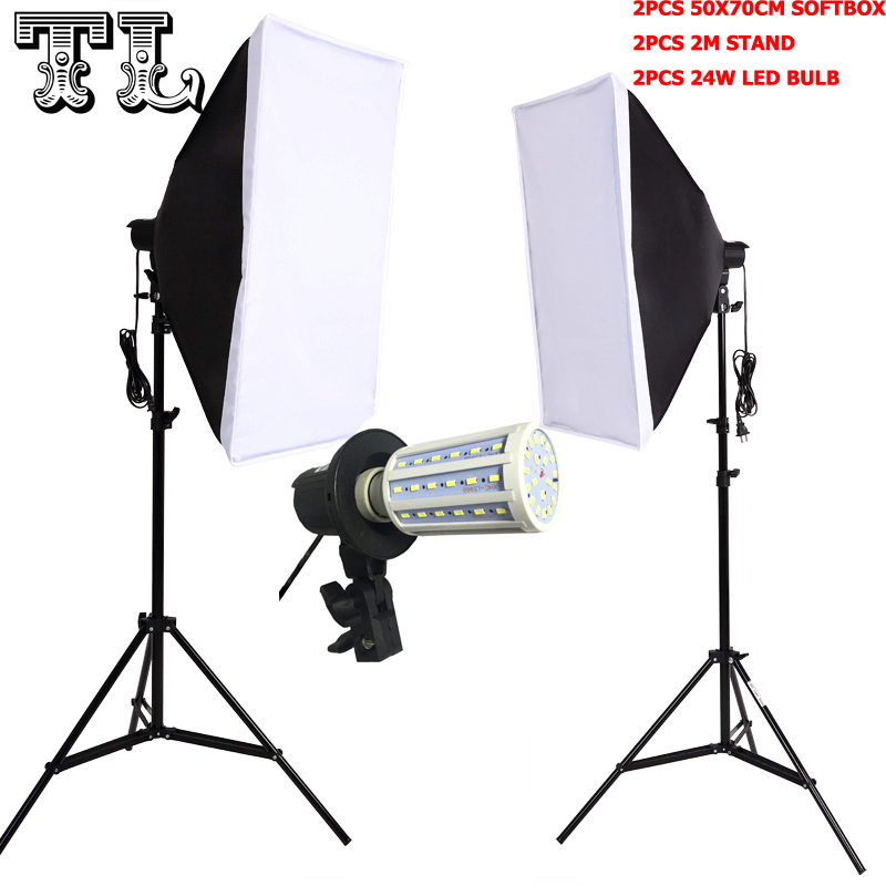 ФОТО Photographic Equipment Photo Studio Soft Box Kit Video lamp Holder Lighting+50*70cm Softbox+2m light stand photo box+24wled lamp