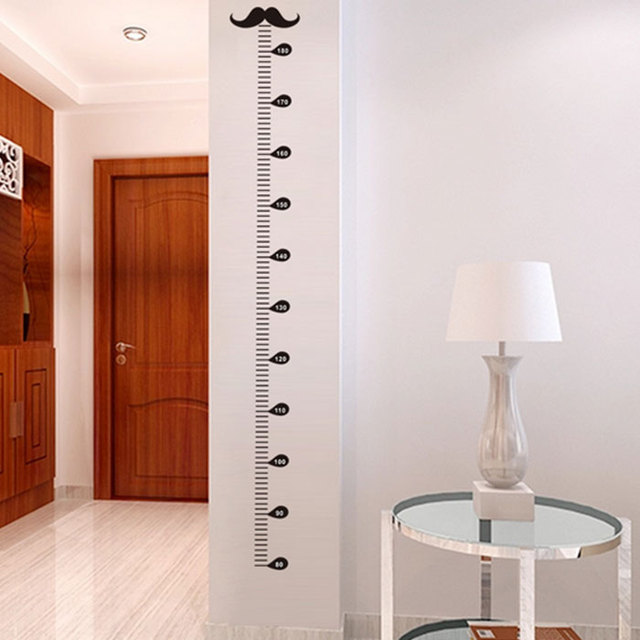 DIY Removable Mustache Designed Height Wall Stickers Livingroom Home Decor