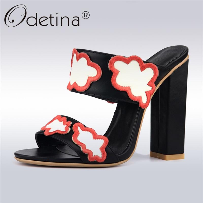 Odetina nouvelle mode femmes Slingback sandales à bout ouvert talons hauts sans lacet Mules bloc talon d'été robe chaussures grande taille 42