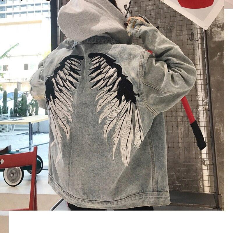 EmbroideryJacket Delle Donne Con Cappuccio Removibile Stampa Manica Lunga Del Denim Cappotti Donna 2018 Fahion Harajuku Abbigliamento