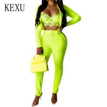 KEXU Bodycon Rompers Women Jumpsuits 2 Pieces Sets Sexy Hollow Out Long Sleeve Femme Street Style Casual Playsuits Plus Size XXL
