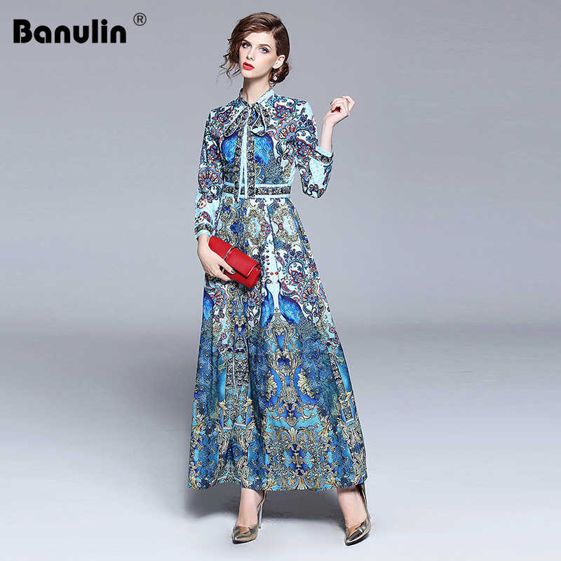a8a48f3b33bcc Banulin New 2018 Fashion Runway Designer Summer Autumn Dress Women's Bow  Collar Animal Floral Print Pleated Vintage Maxi Dresses