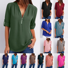 Sommer Frauen Kühlen Lose Shirt Tiefer V Neck Chiffon Bluse Casual Damen Tops Sexy Zipper Pullover Plus Größe Langarm mode(China)