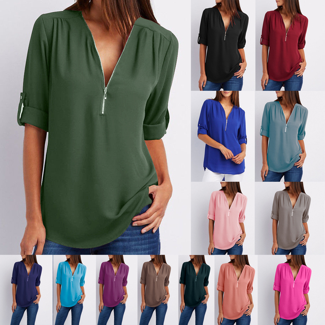 Summer Women Cool Loose Shirt Deep V Neck Chiffon Blouse Casual Ladies Tops Sexy Zipper Pullover Plus Size Long Sleeve Fashion