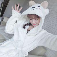 Robe Female Winter Warm Bathrobe Kigurumi Cute Soft Sleepwear Robe Terry Robe Home Clothing Women Pyjamas