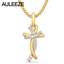 Classic Style Humanoid Cross Pendants 14K Yellow Gold Natural Real Diamond Jewelry Necklace Pendants Engagement Wedding Jewelry