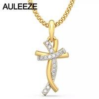 Classic Style Humanoid Cross Pendants 14K Yellow Gold Natural Real Diamond Jewelry Necklace Pendants Engagement Wedding Jewelry