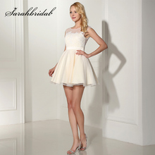 New Arrival Short Off White Lace Applique Prom Dresses Tulle