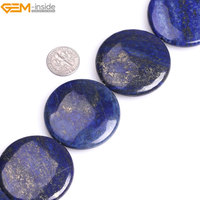 Gem Inside Dyed Color Blue Smooth Coin Lapis Lazuli Beads For Jewelry Making Beads 40mm 25mm