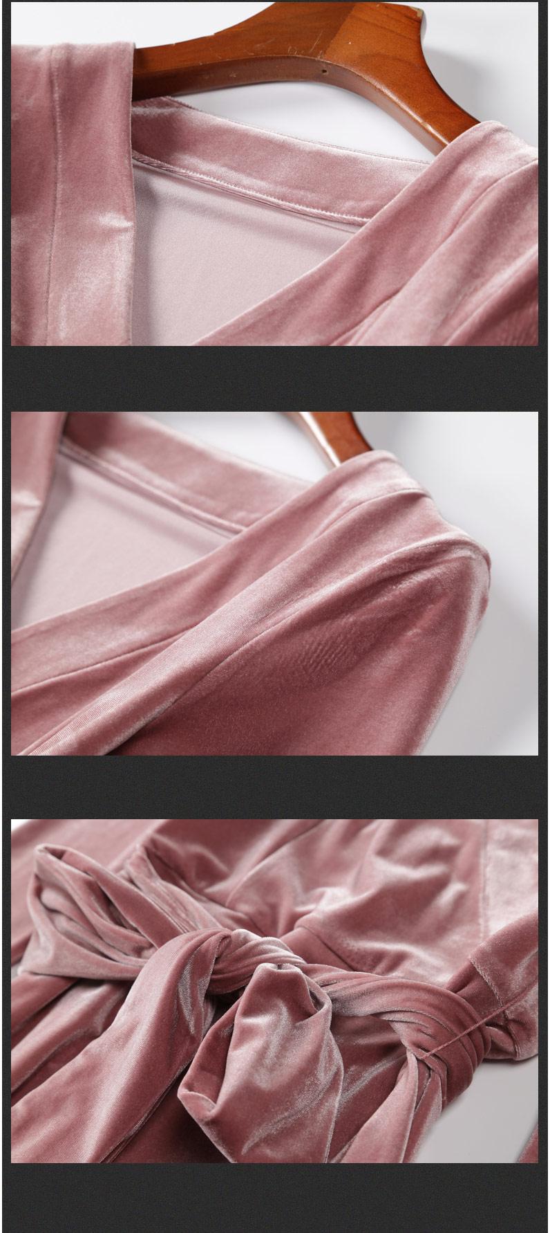 Pink V-neck A-line Velvet Dress