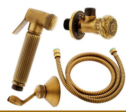 Brass Bidet toilet seat sprayer gun Solid brass Hygienic Shower set Portable bidet with brass antique shower holder & 1.5m hose