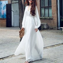 Sexy V-neck Long Sleeve Chiffon Dress Casual Bohemian White Women Maxi Beach