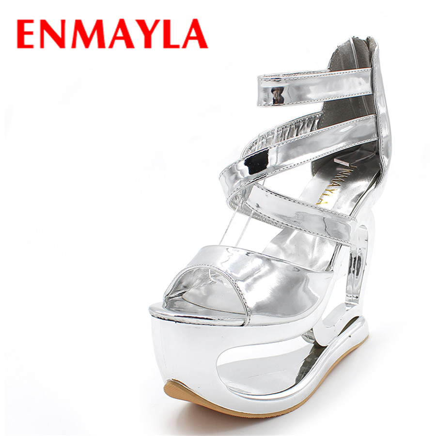 ENMAYLA Ankle-Wrap Women Party Open Toe Party High Heels Gladiator Sandals Platform Shoes Women Wedding Cover Heel Personality crystal high heels shoes platform transparent pvc cross strap women gladiator sandals square toe nightclub party wedding shoes
