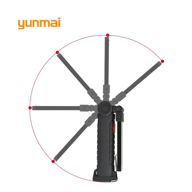 yunmai USB Powerful Lanterna Tactical Torch Flash Light Linternas LED Flashlight Waterproof Led+COB Work Light with Magnet