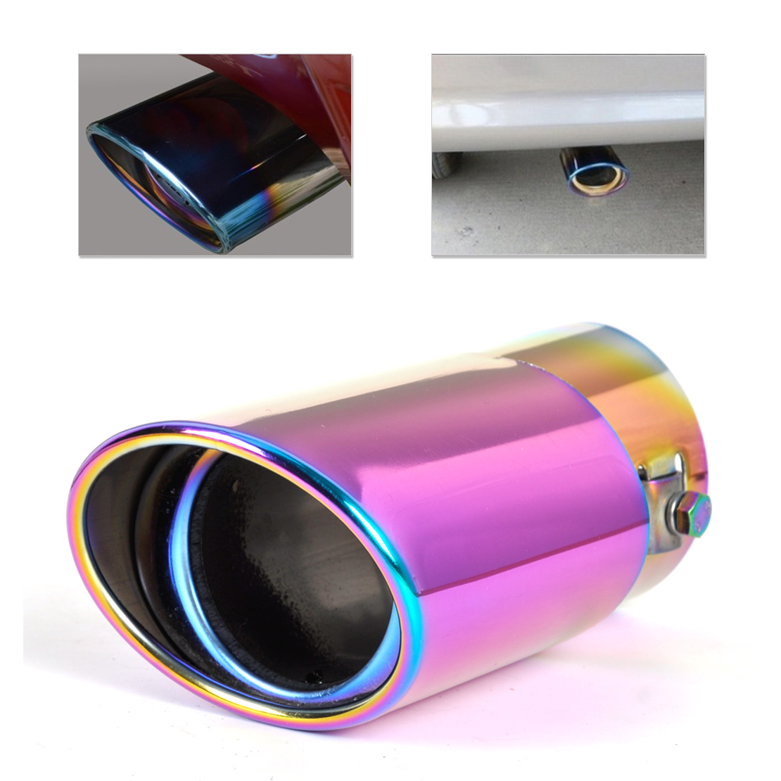 CITALL Straight Exhaust Tailpipe Tail Pipe Rear Muffler End Trim For Honda Civic Hyundai Sonata <font><b>Subaru</b></font> Forester Toyota Corolla image